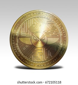 golden gnosis coin isolated on white background 3d rendering