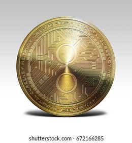golden golem coin isolated on white background 3d rendering
