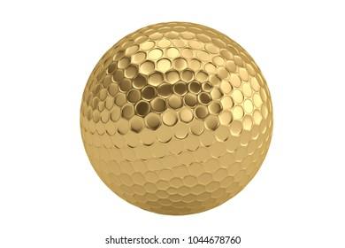 Golden golf ball isolatedon white background. 3D illustration.
