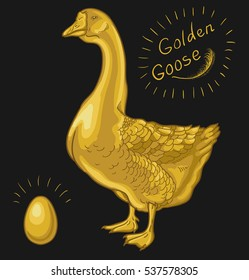 Golden Goose on a black background, golden egg. Raster version