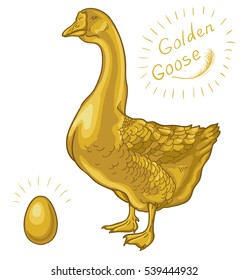 Golden Goose, goose on a white background, golden egg. Raster version