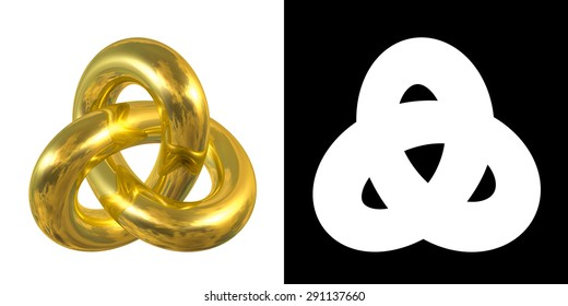 Golden Gordian Knot Sign, Reflection of Sky - gold/metal symbol isolated on white background.
