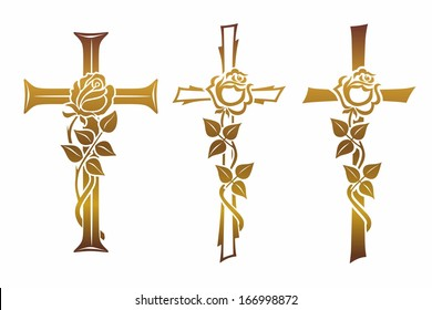 golden grave cross with rose for funerary decoration