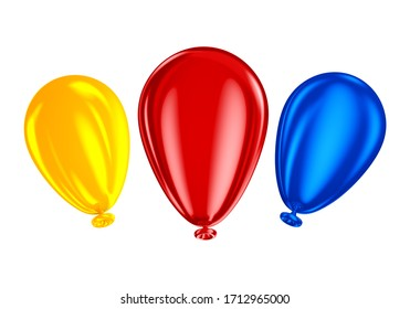 Golden and gray balloons 3d illustration for composition