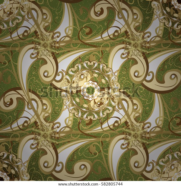 Golden green floral ornament in baroque style. Antique golden repeatable wallpaper.Golden element on green background. Damask pattern repeating background.