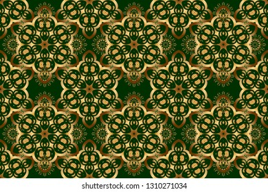 Golden and green seamless pattern. Traditional classic ornament. Oriental raster pattern with arabesques and golden floral elements.