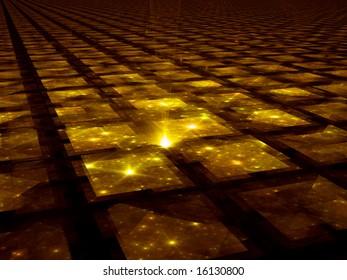 Golden Grid Hub - Fractal Illustration