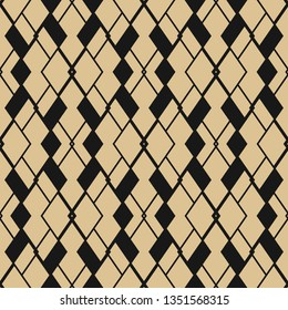 Golden grid pattern. Raster abstract geometric seamless texture. Black and gold ornament with thin diagonal lines, rhombuses, diamonds, rectangles, grid, net, lattice. Simple repeated background