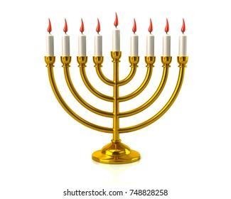Golden Hanukkah menorah with burning candles 3d illustration on white background