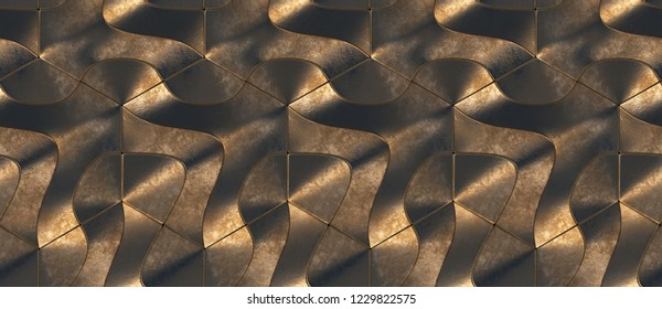 Golden hard metal geometry tiles with dirt planes.High quality seamless realistic texture.