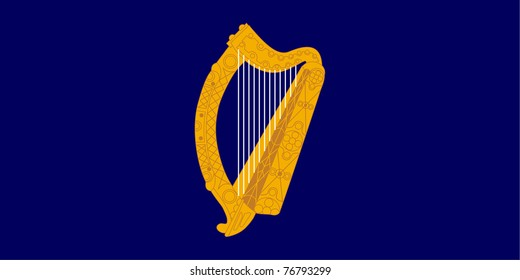 Golden harp on Irish or Ireland presidential flag.
