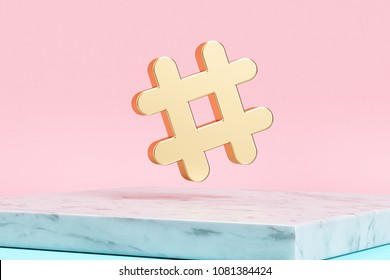 Golden Hashtag Icon on Pink Background . 3D Illustration of Golden Hash, Hash Mark, Hashtag, Tag, Topic, Trending Icons on Pink Color With White Marble.