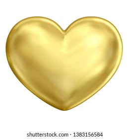 Golden heart (front view). Classic traditional elegant shiny metal heart with bright reflection and soft glossy glitter isolated on white background. 3d rendering