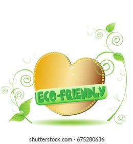 A golden heart with plants around it and a shield: Eco friendly