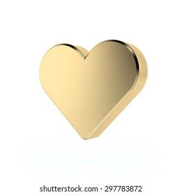 Golden heart sign. 3d render. Isolated on white background, social media concept.
