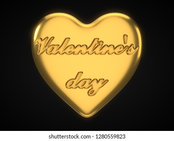 golden heart for valentine's day. suitable for love, emotions and valentine's day themes. 3d illustration