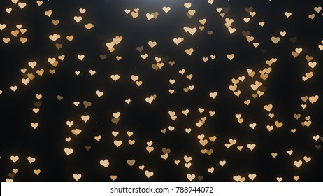 Golden hearts on a black background