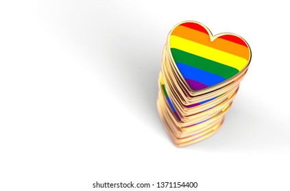 Golden hearts with rainbow flag inside stack or pile. Gay pride, LGBT, bisexual, homosexual symbol concept. Isolated on white background with copy space. 3D rendering