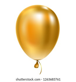 Golden helium balloon Birthday baloon flying for party and celebrations Isolated on white background.  illustration for your design and business