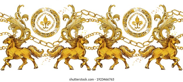 golden horses baroque seamless pattern. Watercolor vintage gold lace ornament. luxury textile print