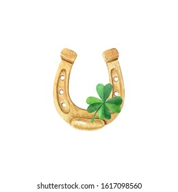 Golden horseshoe and shamrock leaf isolated on white background. Good luck symbol. Happy Saint Patrick's Day clipart for greeting cards, invitations, banners. Watercolor hand drawn illustration.