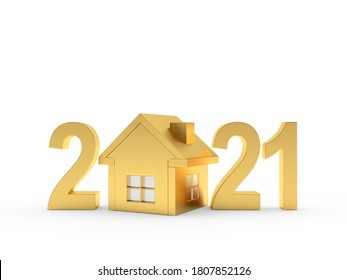 Golden house icon and number 2021 isolated on white background. 3d illustration