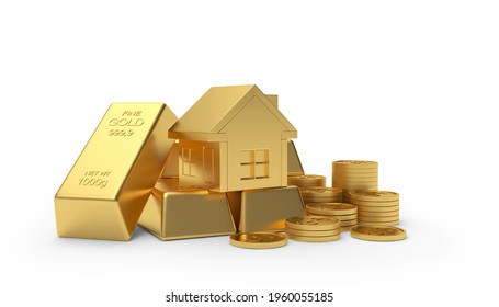 Golden house on a heap of coins and bars isolated on white background. 3D illustration