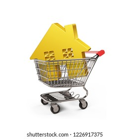 Golden house in shopping cart, isolated on white, on-line shopping concepts, 3D illustration.