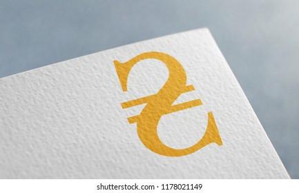 Golden hryvnia Money 3D Illustration Symbol Write On The Paper. hryvnia Money Logo On The Paper. Golden hryvnia Money Logo. 3D Rendering.