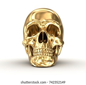Golden human skull over white , 3D illustration
