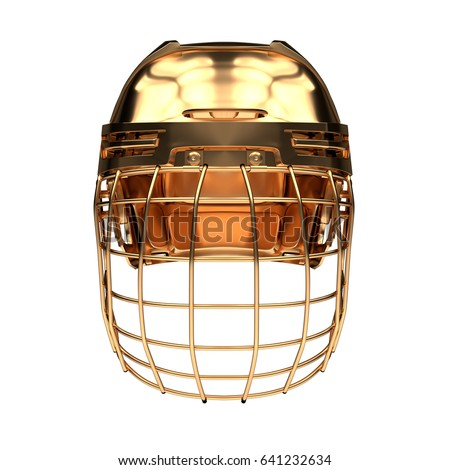 Golden Ice Hockey Helmet Front View Stock Illustration 641232634