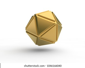 The Golden icosahedron, abstract image of geometric shapes isolated on white background. Illustration of the idea. 3D rendering
