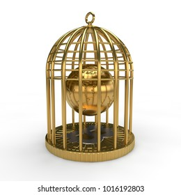 Golden image of the planet Earth in a Golden cage a symbol of the international cryptocurrency bitcoin. The idea of traps, deception, captivity. Illustration, isolated on white background 3D renderin