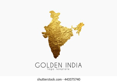 Golden India Logo. India map golden design