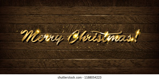 Golden inscription Merry Christmas on wooden background. Raster copy