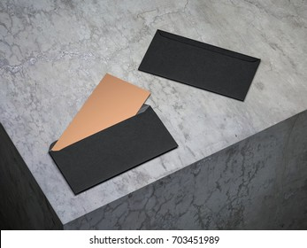 Golden invitation mockup in open black envelope on concrete floor, 3d rendering