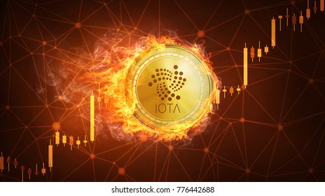 Golden IOTA coin in fire with bull trading stock chart. IOTA blockchain token grows in price on stock market concept. Cryptocurrency coin on polygon peer to peer network background.