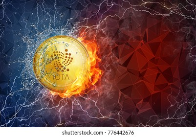Golden IOTA coin in fire flame, water splashes and lightning. IOTA blockchain hard fork concept. Cryptocurrency symbol in storm with peer to peer network polygon background.