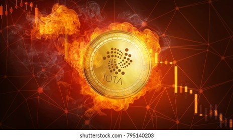 Golden IOTA coin in fire flame is falling. Burning crypto currency IOTA falling down, blockchain cryptocurrency market crash bubble burst concept with down chart.