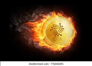 Golden IOTA coin flying in fire flame. Blockchain token grows in price on stock market concept. Burning crypto currency IOTA symbol illustration isolated on black background.