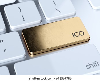 Golden IPO, Initial Public Offering service sign button on white computer keyboard. 3d rendering concept