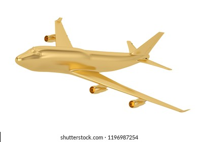 Golden jet airplane isolated on white background 3D illustration.