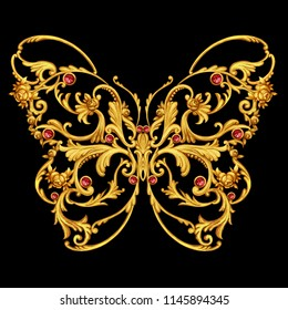 Golden jewelry butterfly