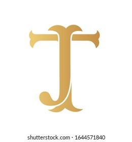 Golden JT monogram isolated in white.