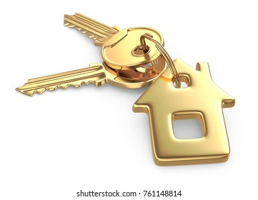 Golden Key of house isolated on white. 3d rendering.