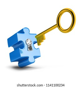 Golden key opens blue puzzle. 3d image. White background.
