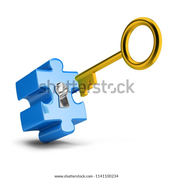 Golden key opens blue puzzle. 3d image. White background.