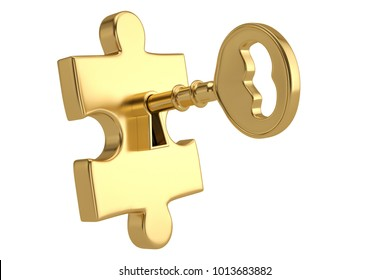 Golden key and puzzle pieces on white background.3D illustration.