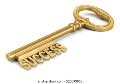 Golden key to success isolated on white background. 3d render illustration.
