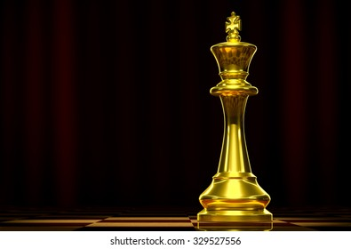 Golden king on a chess board background luxury.